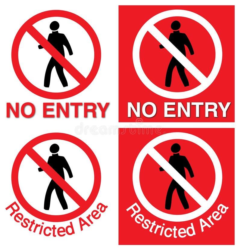 Nenhumas entrada & área interditado ilustração do vetor