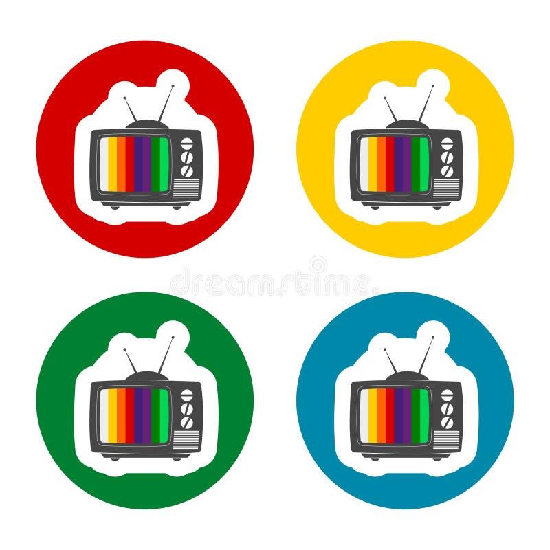 Nenhuns ícones do sinal da tevê ajustados ilustração stock