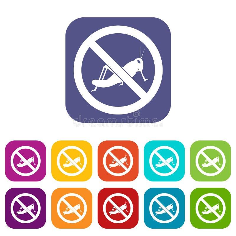 Nenhuns ícones do sinal dos locustídeo ajustados ilustração do vetor
