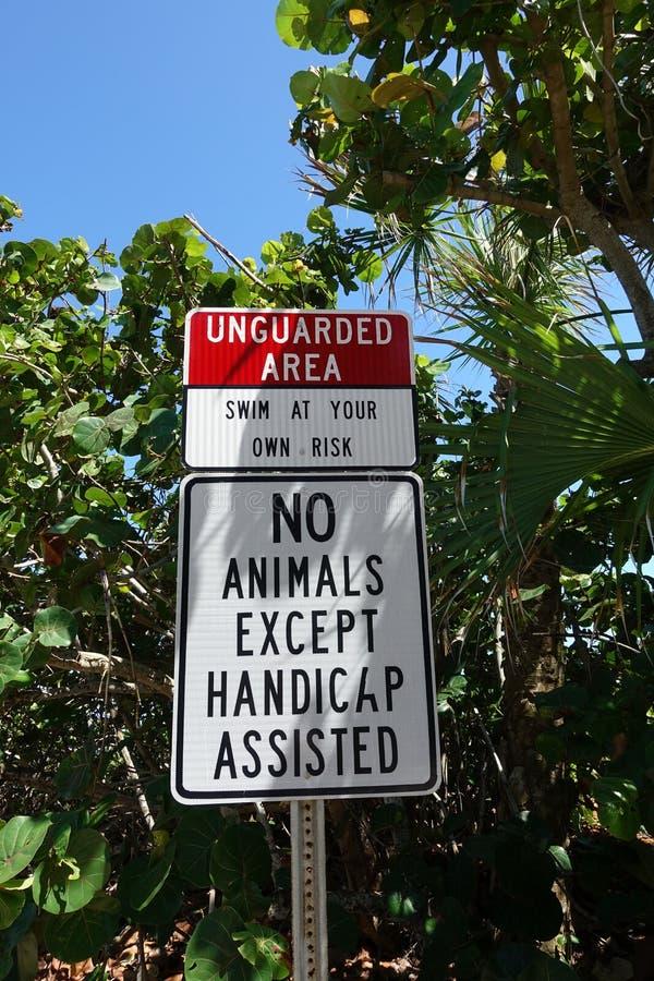 Nenhuns animais e para nadar a seu próprio risco o sinal fotografia de stock