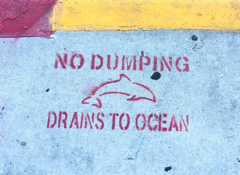 Nenhuns drenos de despejo à escrita do oceano no passeio em Key West imagem de stock royalty free