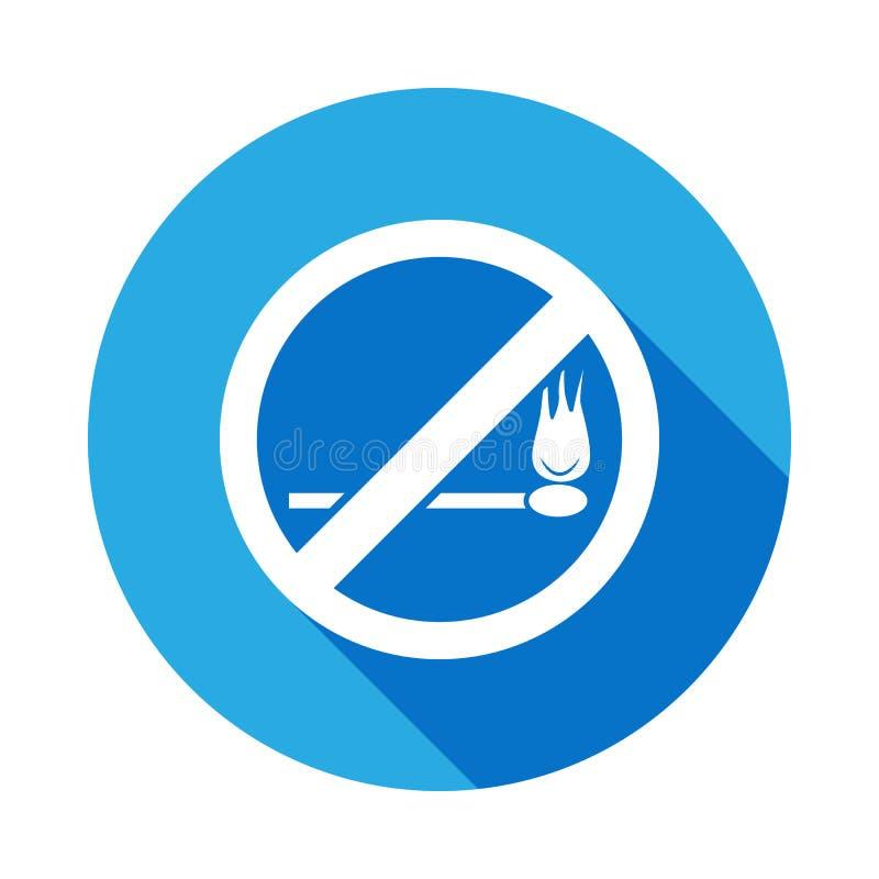 Nenhuns fósforos e fogo, ícone liso proibido do sinal com sombra longa ilustração royalty free