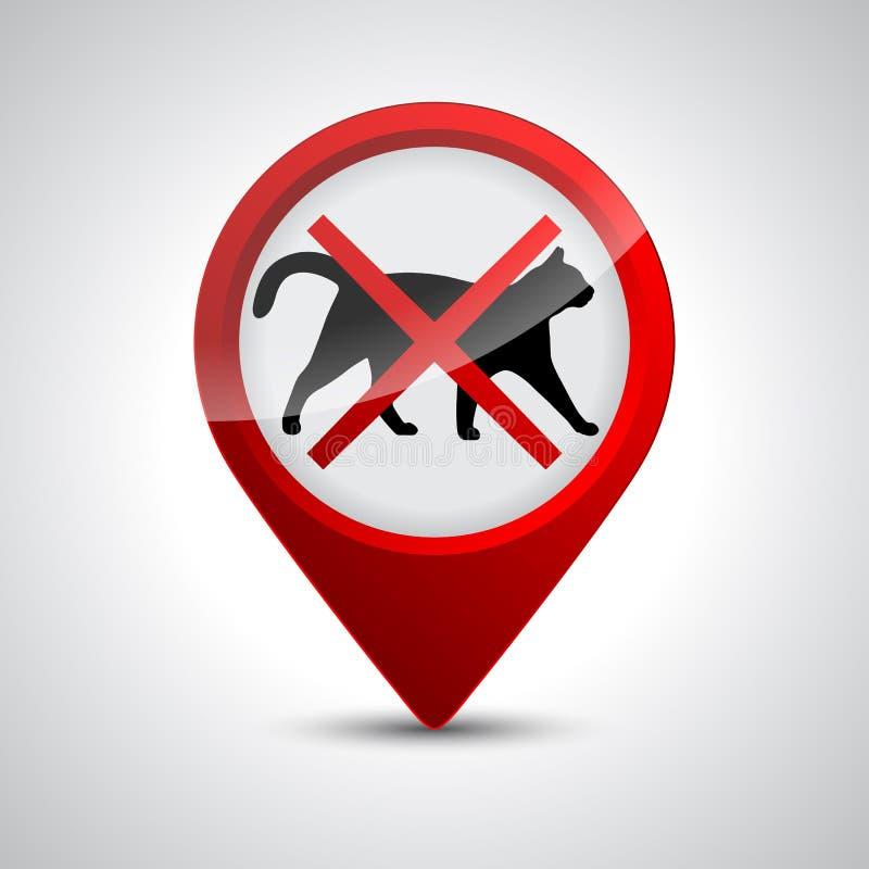 Nenhuns gatos Proibindo o lugar de sinal da parada ou a entrada dos animais de estimação neste momento ou do território - vetor ilustração royalty free