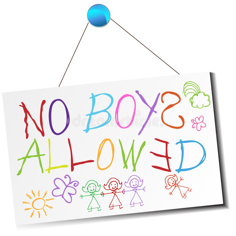 Nenhuns meninos permitidos o sinal ilustração royalty free