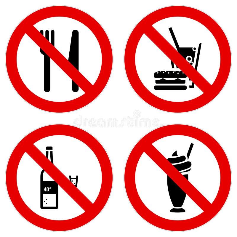 Download Nenhuns Sinais Comendo E Bebendo Ilustração do Vetor - Ilustração de ícone, proibição: 16850215
