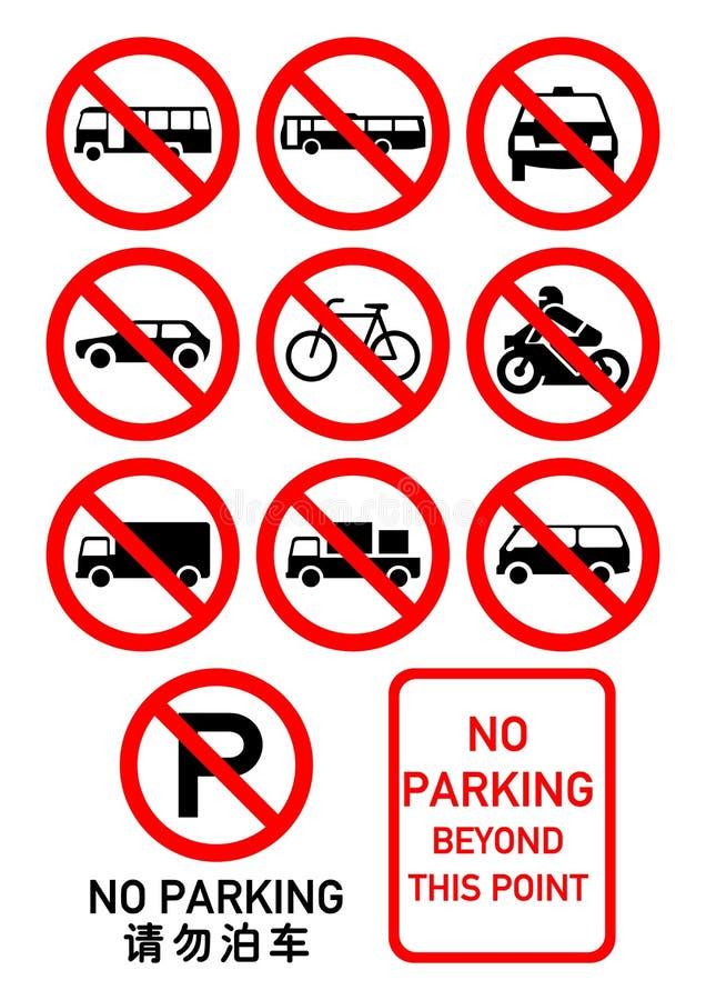 Nenhuns sinais do estacionamento imagem de stock