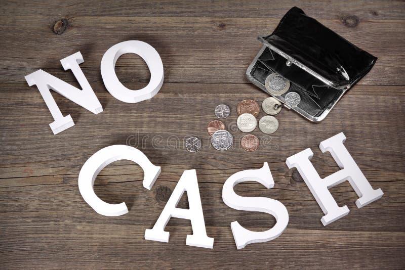 Nenhuns sinal do dinheiro e bolsa do preto de Emty com moedas britânicas imagem de stock royalty free