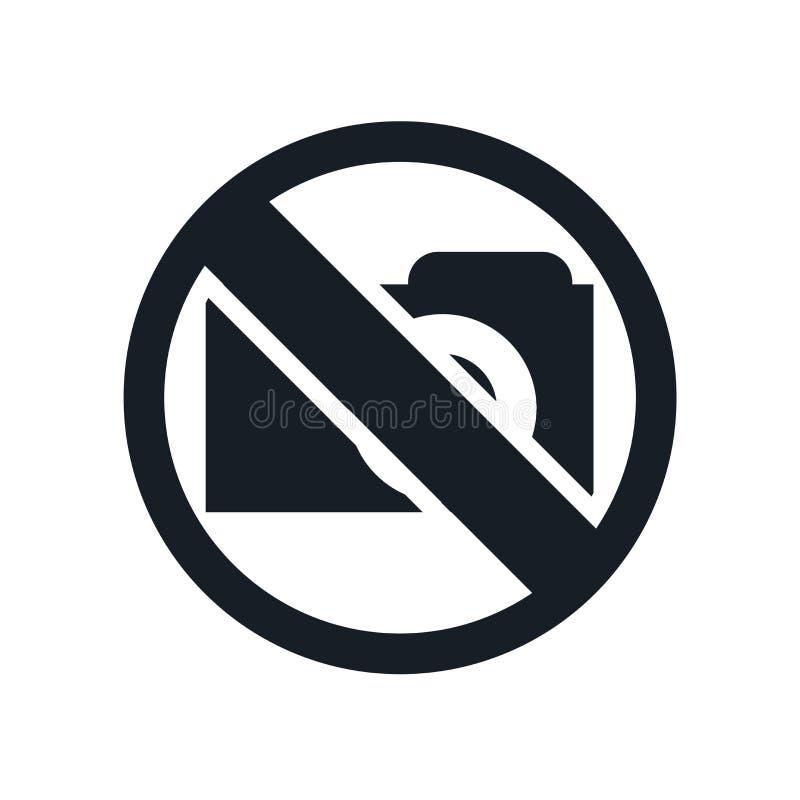 Nenhuns sinal e símbolo do vetor do ícone da foto isolados no fundo branco, nenhum conceito do logotipo da foto ilustração stock
