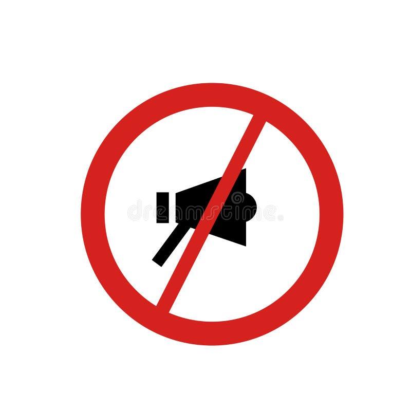 Nenhuns sinal e símbolo do vetor do ícone da gritaria isolados no fundo branco, nenhum conceito do logotipo da gritaria ilustração royalty free