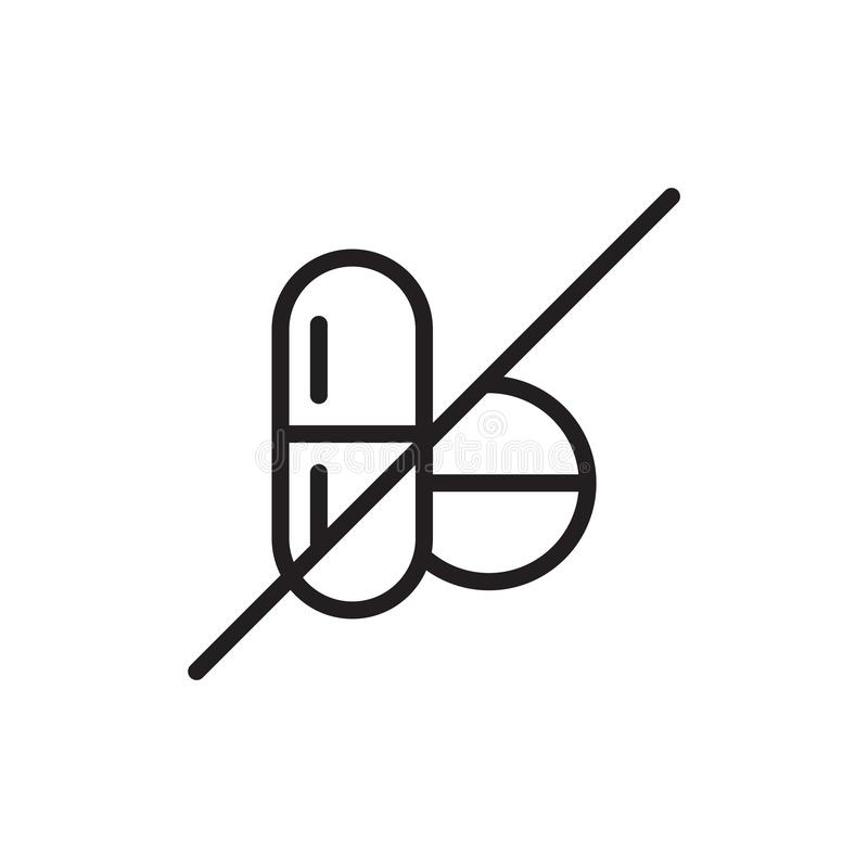 Nenhuns sinal e símbolo do vetor do ícone das drogas isolados no fundo branco, nenhum conceito do logotipo das drogas ilustração stock