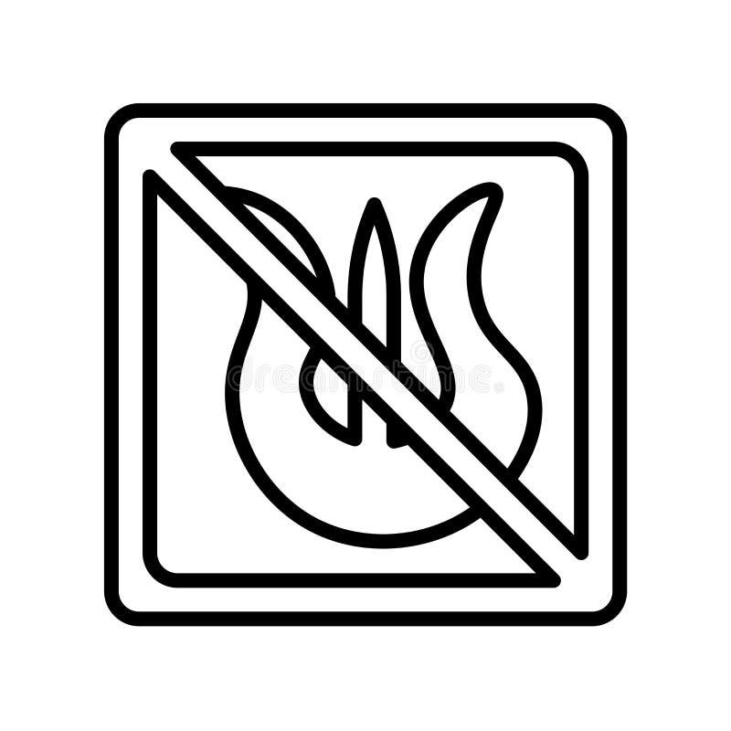 Nenhuns sinal e símbolo do vetor do ícone do fogo isolados no fundo branco ilustração stock