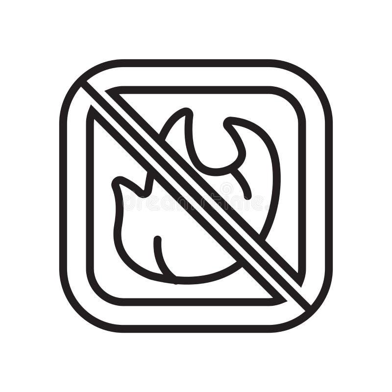 Nenhuns sinal e símbolo do vetor do ícone do fogo isolados no fundo branco, nenhum conceito do logotipo do fogo ilustração stock