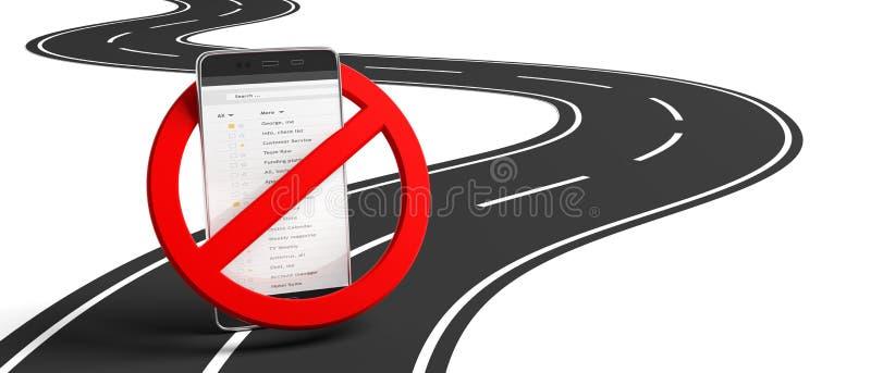 Nenhuns telefones ao conduzir Sinal e smartphone para fora cruzados na estrada asfaltada de enrolamento, fundo branco, isolado, e ilustração royalty free