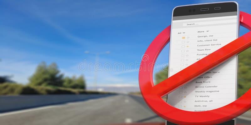 Nenhuns telefones ao conduzir Sinal e smartphone para fora cruzados na estrada asfaltada do borrão ilustração 3D ilustração stock