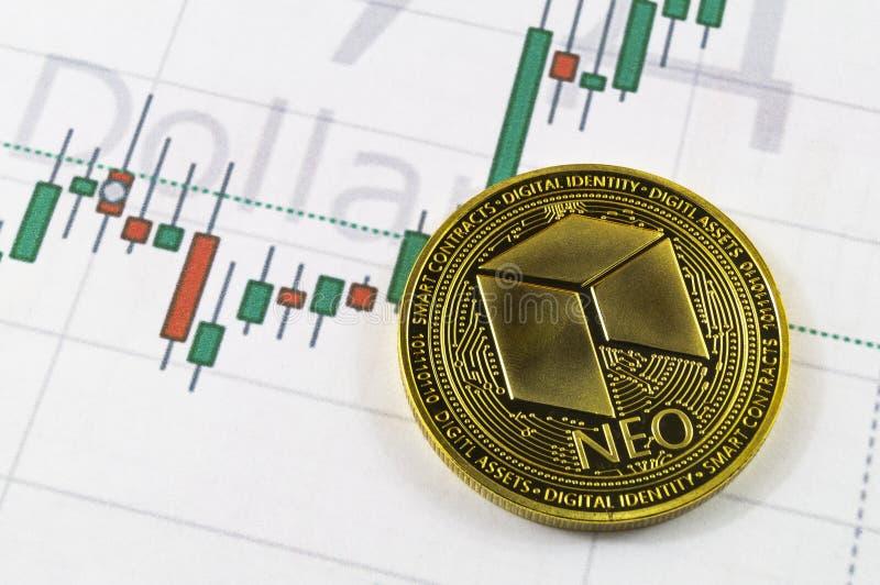 Neo è un modo moderno dello scambio e di questa valuta cripto fotografia stock