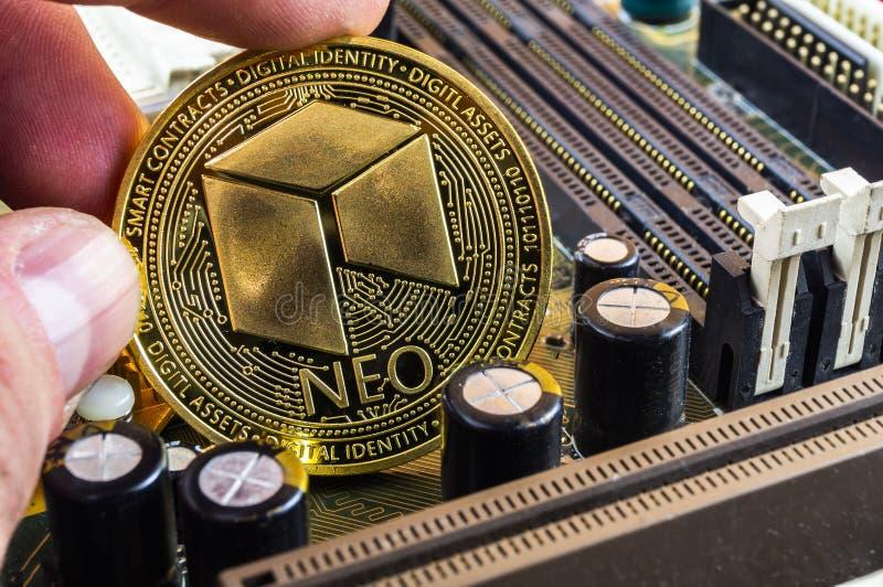 Neo è un modo moderno dello scambio e di questa valuta cripto immagine stock libera da diritti