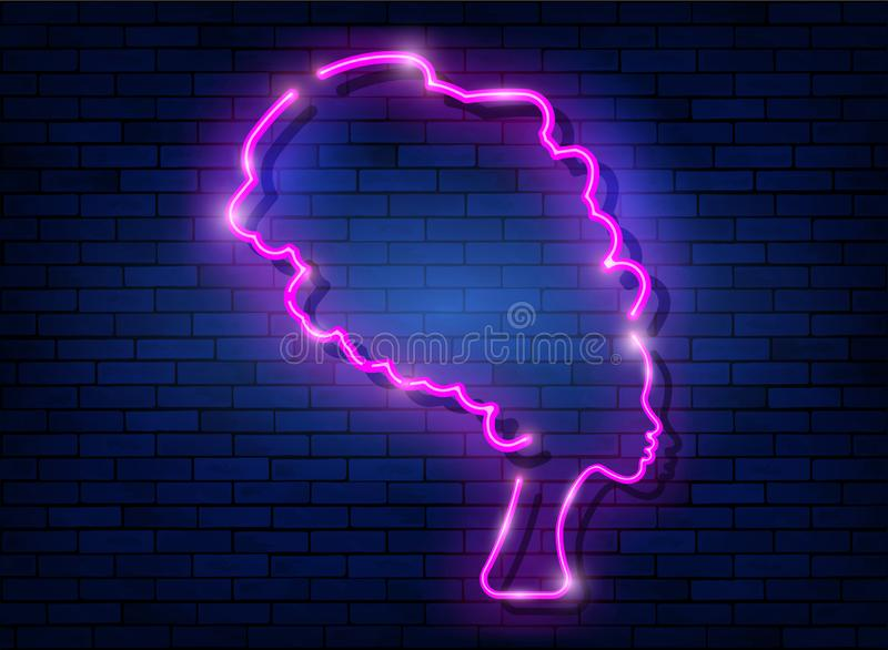 Afro retro girl neon sign. African woman in traditional turban, glowing pink neon female with retro hair style isolated on wall royalty free illustration
