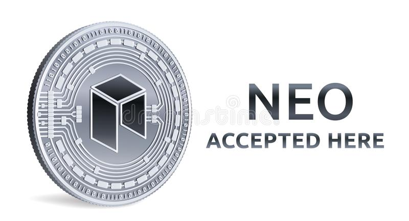 Neo Accepted Sign Emblem Crypto Currency Silver Coin With Neo
