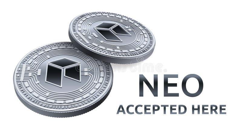 Neo Akceptujący szyldowy emblemat Crypto waluta Srebne monety z neo symbolem odizolowywającym na białym tle 3D badania lekarskieg royalty ilustracja