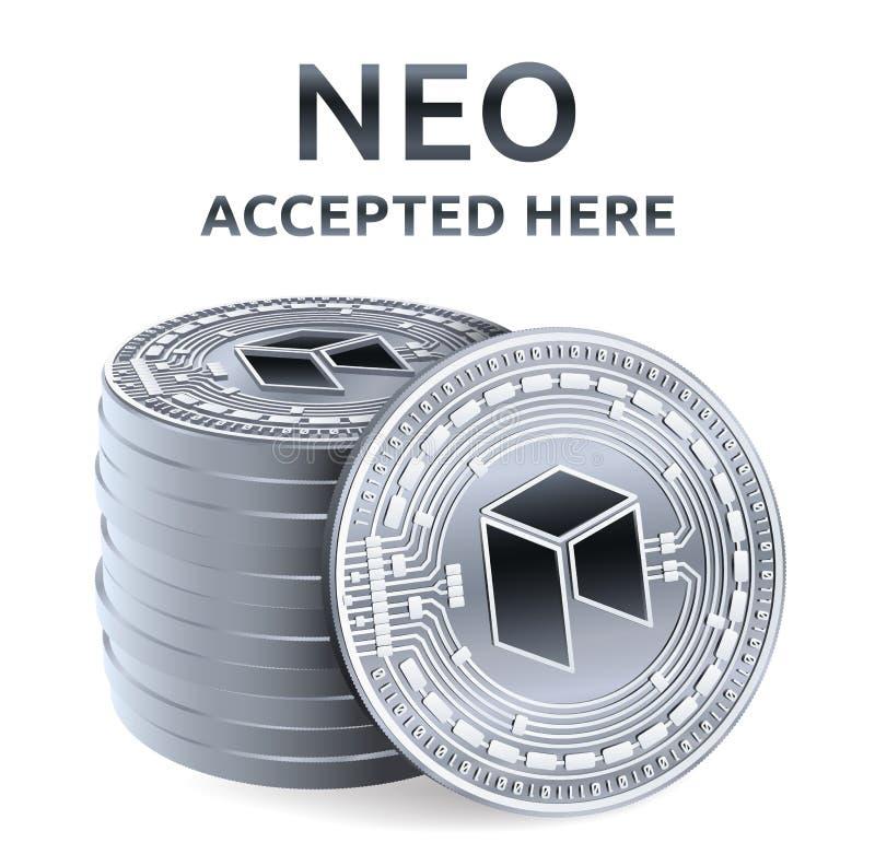 Neo Akceptujący szyldowy emblemat Crypto waluta Sterta srebne monety z Neo symbolem odizolowywającym na białym tle 3D isometric ilustracji