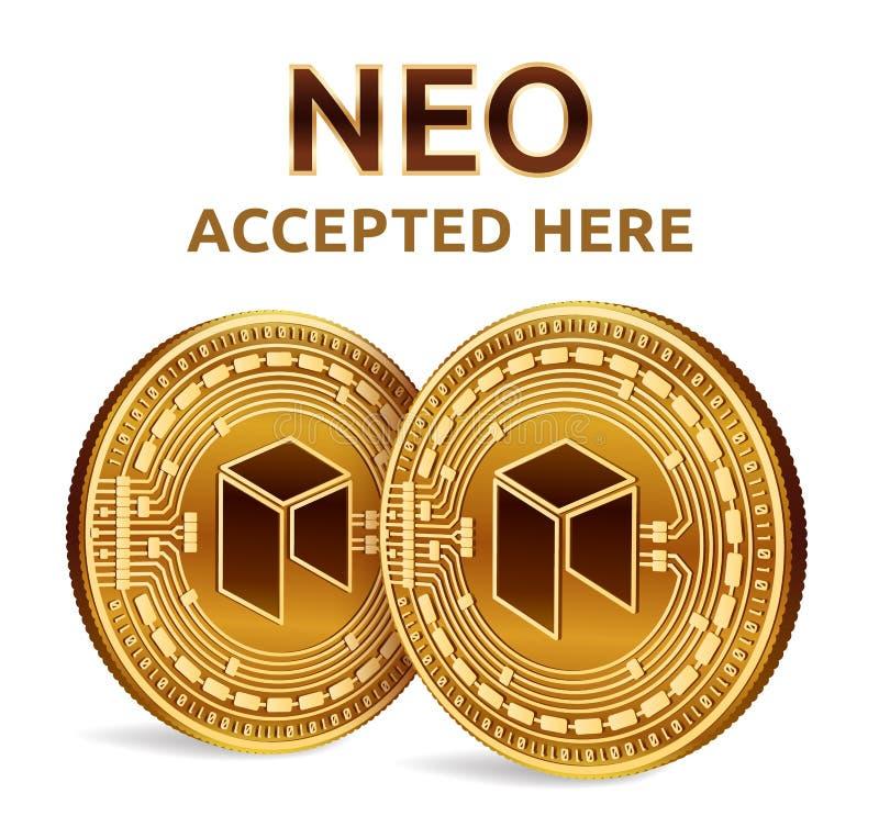 Neo Akceptujący szyldowy emblemat Crypto waluta Złote monety z neo symbolem odizolowywającym na białym tle 3D badania lekarskiego royalty ilustracja