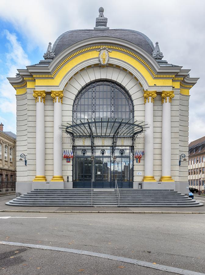 Neo-baroque banquet hall at Belfort, France. Belfort, France - September 24, 2018: Salle des fêtes, public banquet hall from 1913 by architect Eugène Lux royalty free stock photos