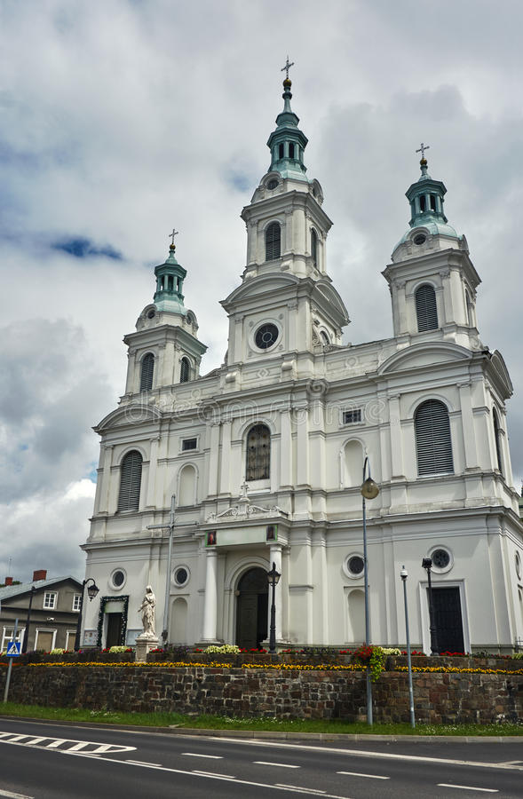 Neo-baroque Catholic Church. In Radomsko in Poland stock images