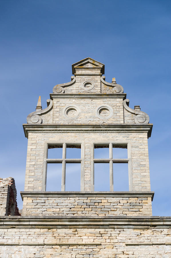 Neo-baroque masonry wall detail closeup. Ungru manor, Estonia stock photography