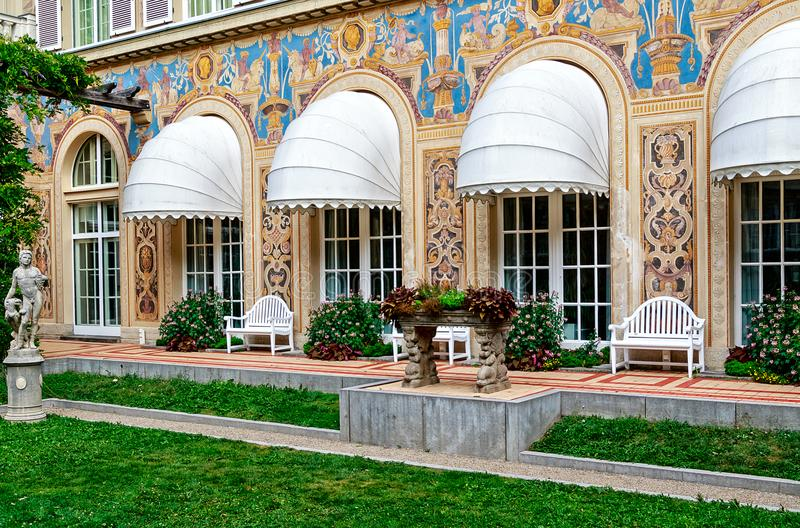"Neo-baroque style small landscaped courtyard called ""Schmuckhof"" of the Kurhaus in Bad Kissingen, Bavaria, Germany. BAD KISSINGEN, GERMANY – stock photo"