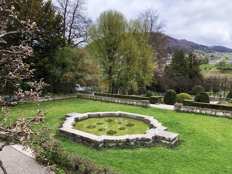 Neo-Baroque terraced garden or Neubarocken Terrassengarten Villa Boveri Park or Parkanlage der Villa Boveri, Baden stock photo