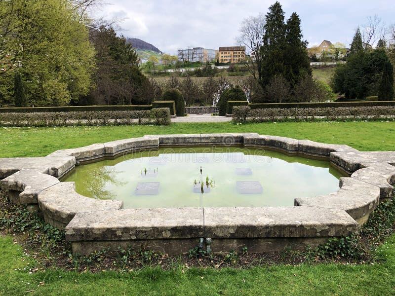 Neo-Baroque terraced garden or Neubarocken Terrassengarten Villa Boveri Park or Parkanlage der Villa Boveri, Baden stock photos