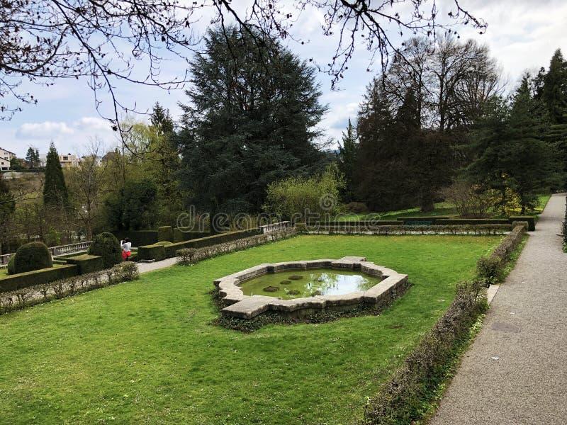Neo-Baroque terraced garden or Neubarocken Terrassengarten Villa Boveri Park or Parkanlage der Villa Boveri, Baden royalty free stock images