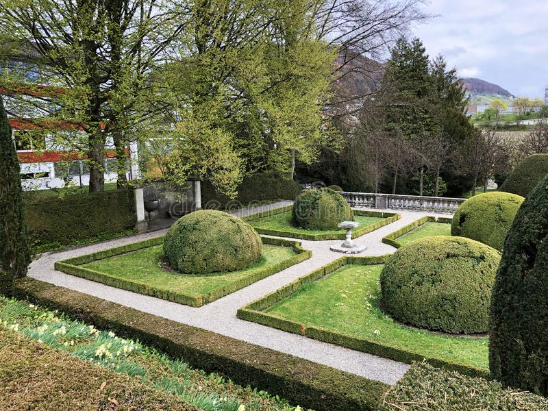 Neo-Baroque terraced garden or Neubarocken Terrassengarten Villa Boveri Park or Parkanlage der Villa Boveri, Baden stock image
