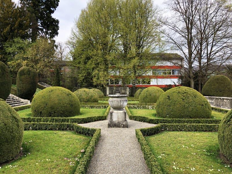 Neo-Baroque terraced garden or Neubarocken Terrassengarten Villa Boveri Park or Parkanlage der Villa Boveri, Baden stock images