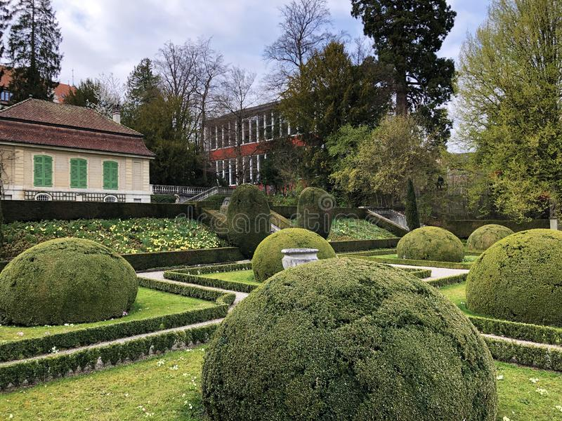 Neo-Baroque terraced garden or Neubarocken Terrassengarten Villa Boveri Park or Parkanlage der Villa Boveri, Baden. Canton of Aargau, Switzerland royalty free stock photography