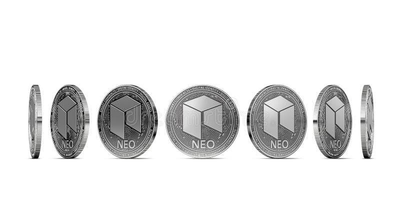 NEO de plata mostrado a partir de siete ángulos aislados stock de ilustración