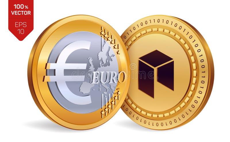 Neo Euro isometrische körperliche Münzen 3D Digital-Währung Cryptocurrency Goldene Münzen mit Neo- und Eurosymbol lokalisiert auf vektor abbildung