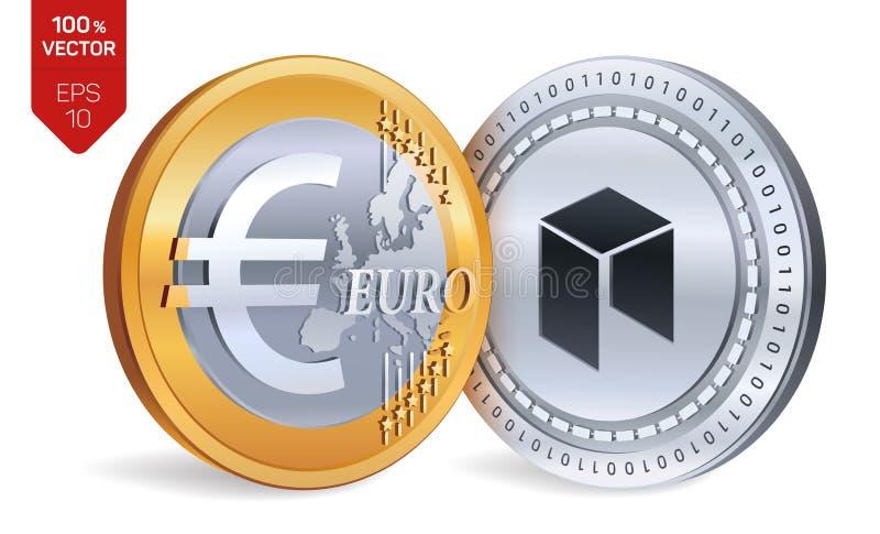Neo Euro isometrische körperliche Münzen 3D Digital-Währung Cryptocurrency Goldene und Silbermünzen mit Neo- und Euro stock abbildung