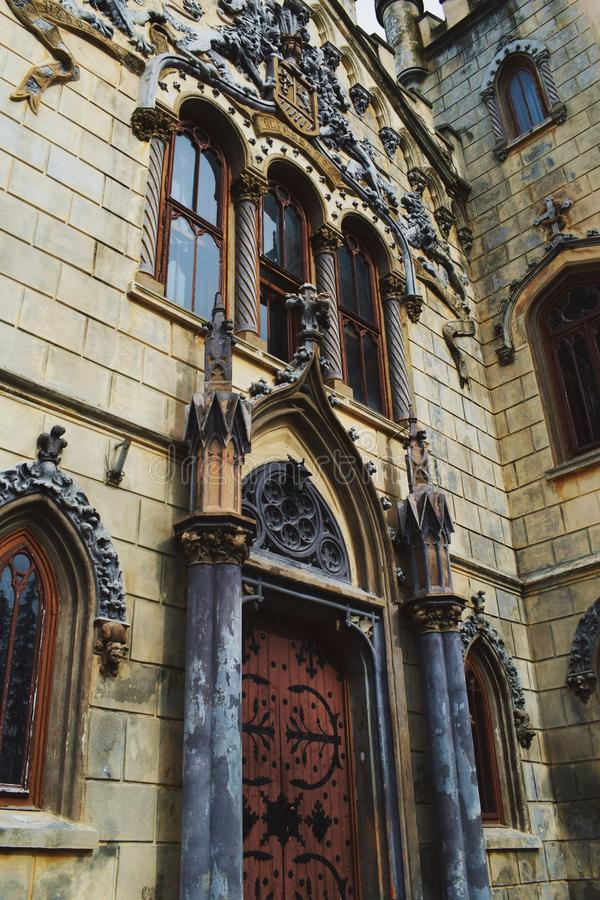 Neo-gothic and baroque castle. Details of a castle built in neo-gothic style with baroque elements stock photography