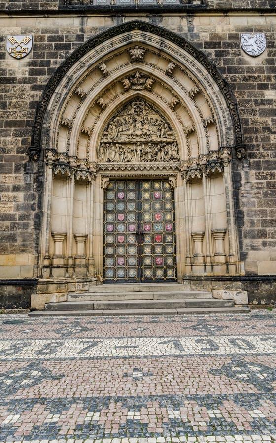 Neo-Gothic portal,Church Peter&Paul Prague stock photos