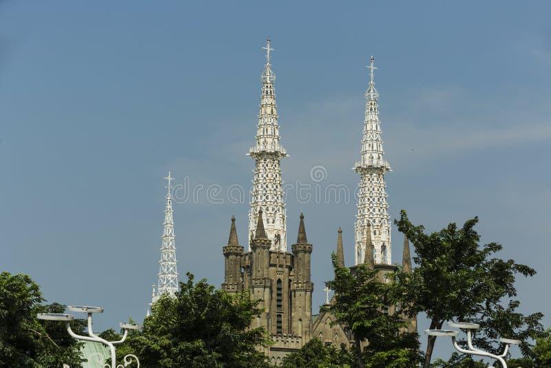 Neo-gotischer Roman Catholic Cathedral - der Sitz Roman Catholic Archbishops von Jakarta stockfotos