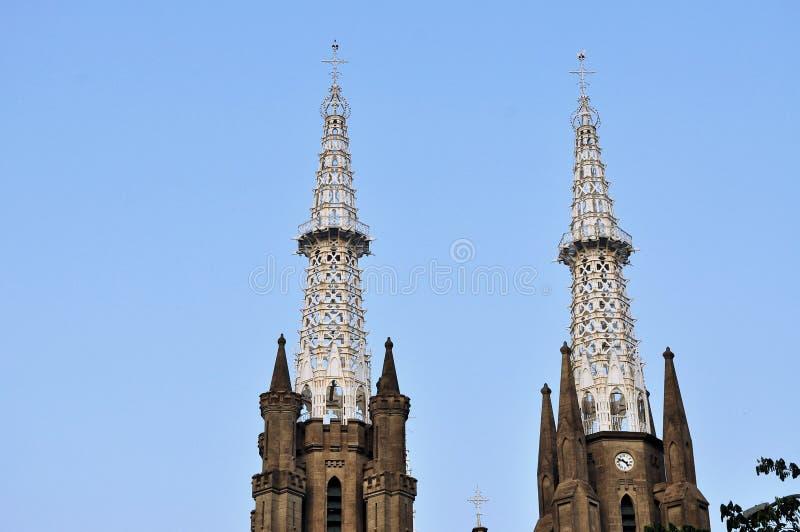 Neo-gotiska Roman Catholic Cathedral, Jakarta royaltyfri fotografi