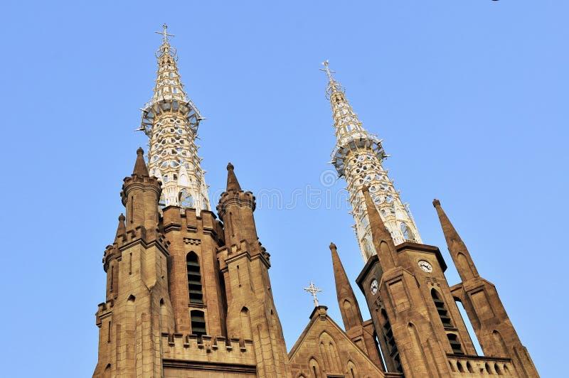 Neo-gotiska Roman Catholic Cathedral, Jakarta royaltyfria bilder