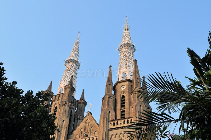 Neo-gotiska Roman Catholic Cathedral, Jakarta arkivfoton