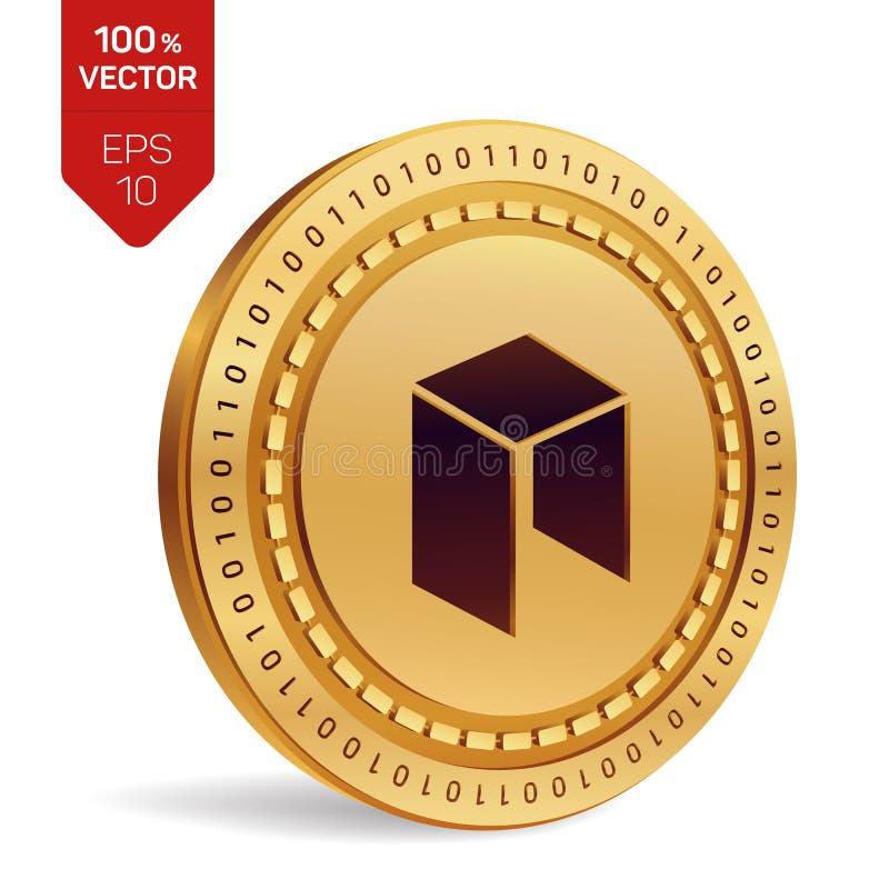 Neo isometriskt fysiskt mynt 3D Digital valuta Cryptocurrency Guld- mynt med Neo symbol som isoleras på vit bakgrund stock illustrationer