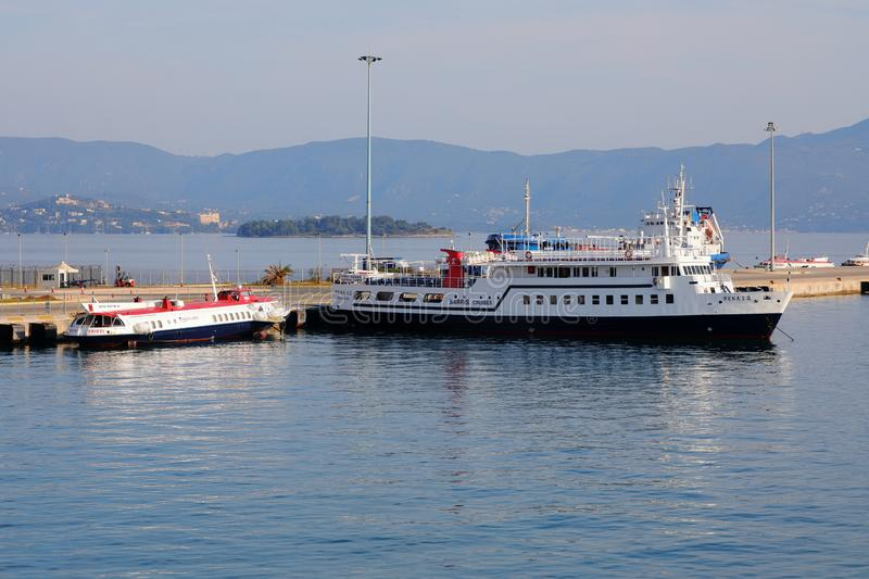 Ships in the port of Kerkyra, Cofru Island, Greece, Europe. Neo Limani, the new port of Corfu, serves as a ferry connection between Greece and Italy. It`s a royalty free stock photos