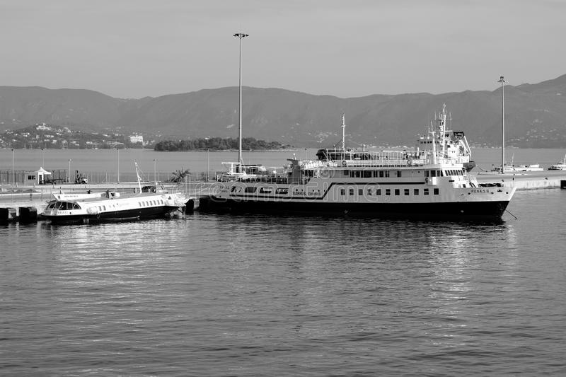 A graphic view of ships in the port of Kerkyra, Cofru Island, Greece, Europe. Neo Limani, the new port of Corfu, serves as a ferry connection between Greece and stock photos