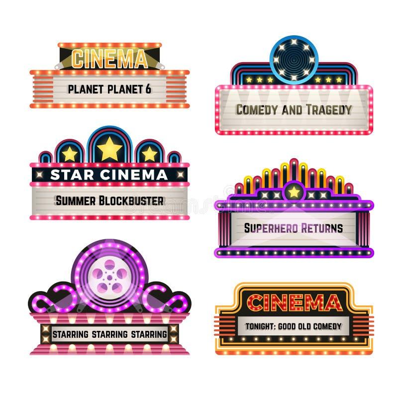 Neo ljusa skyltar för gammal teaterfilm i retro stil för 30-tal Tomma bio- och kasinovektorbaner royaltyfri illustrationer