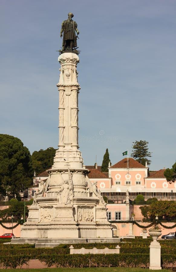 Neo-Manueline-Art. Albuquerque-Spalte und Präsidentenpalast. Lissabon. Portugal stockfotografie