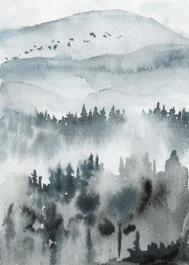 Neo-noir landscape. Blue valley with mountains and forest in fog - hand drawn watercolor painting. In minimalist style. Pre-made scene, background stock photography
